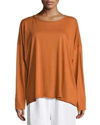 Eskandar Long Sleeve Pima Cotton T Shirt Rust