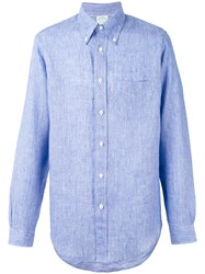 Brooks Brothers Milano Shirt Men Linen Flax M Blue