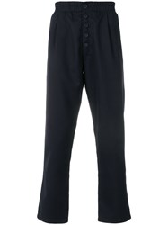 Sunnei Button Front Straight Leg Trousers Blue