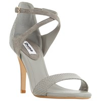 Dune Madeleine Strappy Cross Strap Heeled Sandals Grey Leather