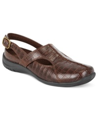 Easy Street Shoes Easy Street Sportster Comfort Clogs Women's Shoes Brown Croco