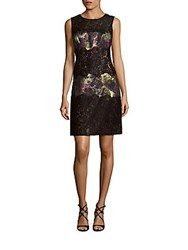 Kay Unger Printed Lace Sheath Dress Black Multi