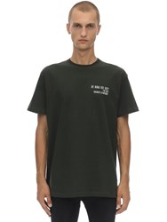 Ih Nom Uh Nit Logo And Quote Print Cotton Jersey T Shirt Military Green