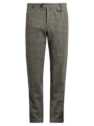 Oliver Spencer Fishtail Tapered Leg Textured Wool Trousers Grey