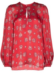 Johanna Ortiz Living Coral Shell Print Blouse Red