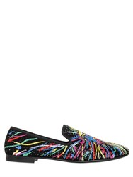 Giuseppe Zanotti Embellished And Printed Suede Loafers
