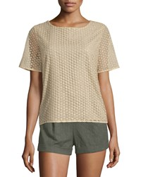 Diane Von Furstenberg Brylee Textured Metallic Blouse Gold Women's Size Small