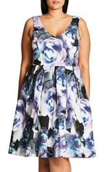 City Chic Plus Size Women's 'Luminous' Floral Print Fit And Flare Dress