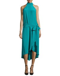 Haute Hippie Halter Neck Waist Tie Dress Turquoise