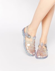 Asos For You Jelly Gladiator Sandals Clear Glitter