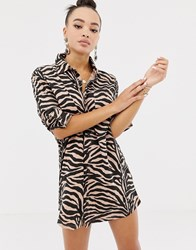 Missguided Oversized Shirt Dress In Zebra Red
