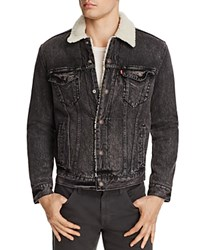 Levi's Sherpa Trucker Brusted Denim Jacket Blue