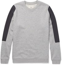 Folk Shell Panelled Loopback Cotton Jersey Sweatshirt Gray