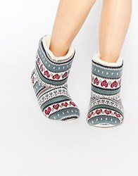 Totes Multi Heart Fairisle Bootie Slippers Multi