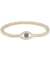Wrapped Diamond Evil Eye Stretch Bead Bracelet 1 6 Ct. T.W. In 14K Gold Over Sterling Silver