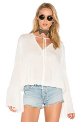 Candc California Bijoux Shirred Blouse White