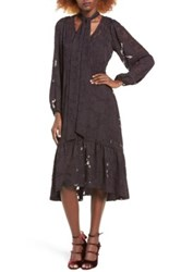 Sun And Shadow Tie Neck Fil Coupe Dress Purple