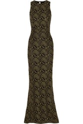 Alice Olivia Roxie Cutout Lace Gown Army Green