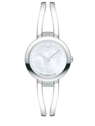 Movado Amorosa Duo Diamond Stainless Steel And Mother Of Pearl Double Bar Bangle Bracelet Watch Silver White
