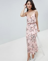 Oh My Love Buttoned Cami Maxi Dress In Floral Print Pink Floral