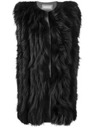Fabiana Filippi Sleeveless Fur Coat Black