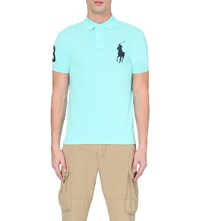 Ralph Lauren Slim Fit Cotton Pique Polo Shirt Blue Orng