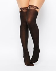Asos Pug Design Over The Knee Tights Blackwithnudetop