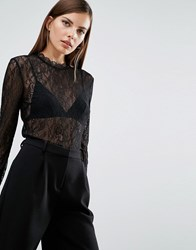 Selected Geisha Lace Longsleeve Top In Black Black