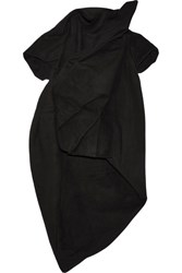 Rick Owens Gathered Cotton And Silk Blend Top Black