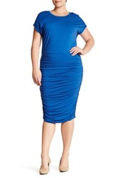 Vince Camuto Ruched Sheath Dress Plus Size Blue
