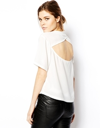 Asos T Shirt With Cut Out Back White