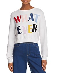 Alice Olivia And Leena Whatever Cropped Sweatshirt White Multi