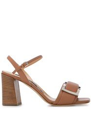Sergio Rossi Buckle Plaque Block Heel Sandals 60
