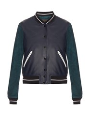 Rag And Bone Alix Contrast Leather Suede Bomber Jacket Navy