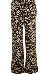 Kate Moss For Equipment Avery Leopard Print Washed Silk Pajama Pants Leopard Print Brown