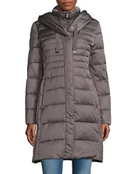T Tahari Hooded Down Parka Mink