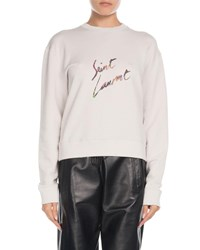 Saint Laurent Crewneck Logo Graphic Sweatshirt Ecru
