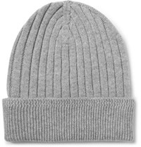Tom Ford Ribbed Cashmere Beanie Light Gray