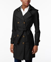 Jones New York Double Breasted Belted Raincoat Black