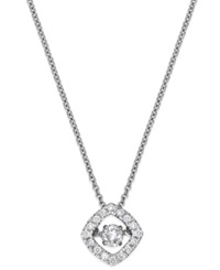 Twinkling Diamond Star Diamond Square Pendant Necklace In 10K White Gold 1 4 Ct. T.W.