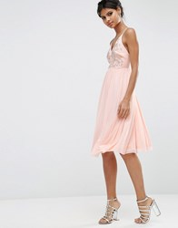 Asos Mesh Skirt Embellished Hotfix Midi Prom Dress Nude Pink