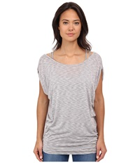 Bench Skyscraping Short Sleeve Top Gy149 Neutral Grey Women's Short Sleeve Pullover Gray