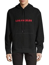 7 For All Mankind Reversible Graphic Cotton Hoodie Black