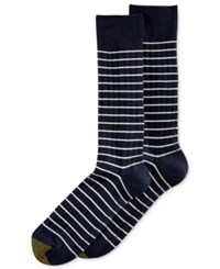Gold Toe Men's Simple Stripe Ribbed Socks New Navy