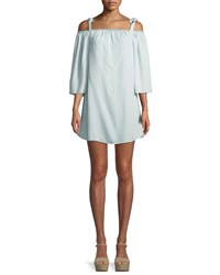 Cupcakes And Cashmere Dora Cold Shoulder Long Sleeve Chambray Mini Dress Light Blue