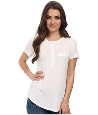 Nydj Petite Petite Key Item S S Pleat Back Henley Optic White Women's Short Sleeve Pullover
