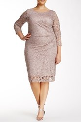 Marina 3 4 Length Sleeve Lace And Sequin Dress Plus Size Pink