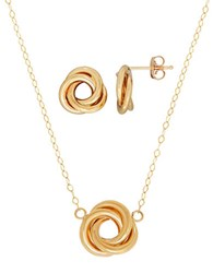 Lord And Taylor Two Piece 14K Yellow Gold Love Knot Postback Earrings Necklace Set