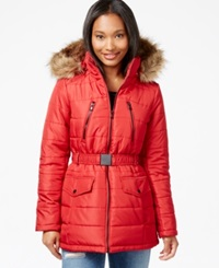 Celebrity Pink Faux Fur Trim Belted Puffer Coat Cherry Red
