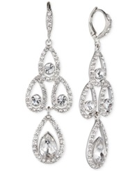 Givenchy Silver Tone Crystal Pear Open Chandelier Earrings Clear